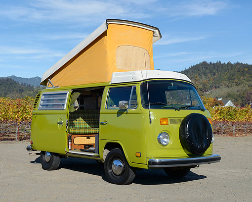 AUT 23 RK3533 01 © Kimball Stock 1977 Volkswagon Westfalia Campmobile Bus Sage Green On Pavement