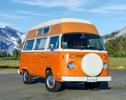 AUT 23 RK3538 01 © Kimball Stock 1974 Volkswagon Wanderlust Bus Orange 3/4 Front View On Pavement