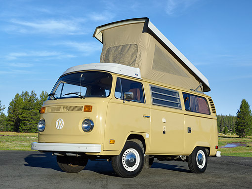 AUT 23 RK3542 01 © Kimball Stock 1976 Volkswagon Westfalia Yellow 3/4 Front View On Pavement