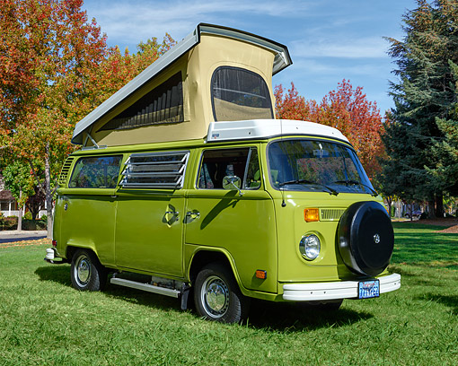 AUT 23 RK3544 01 © Kimball Stock 1977 Volkswagon Westfalia Sage Green 3/4 Front View On Grass
