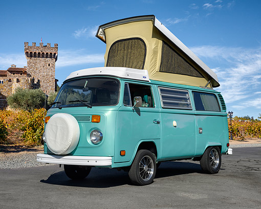 AUT 23 RK3545 01 © Kimball Stock 1978 Volkswagon Westfalia Blue Green 3/4 Front View On Pavement