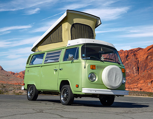 AUT 23 RK3546 01 © Kimball Stock 1978 Volkswagon Westfalia Cyber Green 3/4 Front View On Pavement