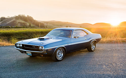 AUT 23 RK3553 01 © Kimball Stock 1970 Dodge Challenger R/T 440 Six Pack Dark Blue 3/4 Front View On Pavement
