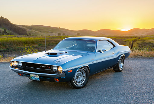 AUT 23 RK3554 01 © Kimball Stock 1970 Dodge Challenger R/T 440 Six Pack Dark Blue 3/4 Front View On Pavement