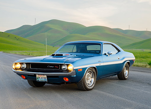AUT 23 RK3555 01 © Kimball Stock 1970 Dodge Challenger R/T 440 Six Pack Dark Blue 3/4 Front View On Pavement By Pastoral Hills