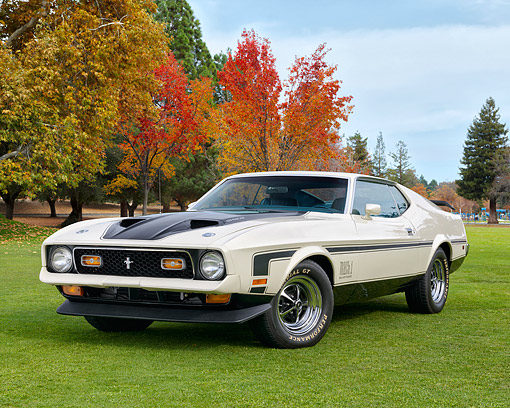 AUT 23 RK3563 01 © Kimball Stock 1971 Ford Mustang Mach 1 429 Cobra Jet White 3/4 Front View In Autumn Scene