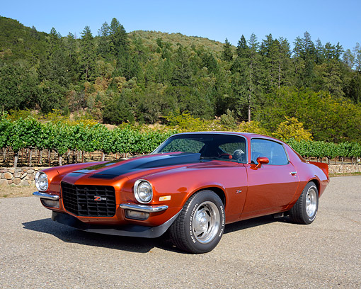 AUT 23 RK3564 01 © Kimball Stock 1970 Chevrolet Camaro Z-28 Orange With Black Stripes 3/4 Front View In Forest Vineyard