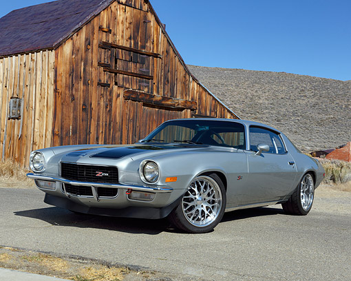 AUT 23 RK3566 01 © Kimball Stock 1970 Chevrolet Camaro Z-28 Silver With Black Stripes 3/4 Front View In Meadow