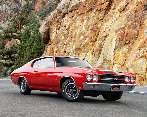 AUT 23 RK3573 01 © Kimball Stock 1970 Chevrolet Chevelle SS Red With Black Stripes 3/4 Front View On Pavement By Lake
