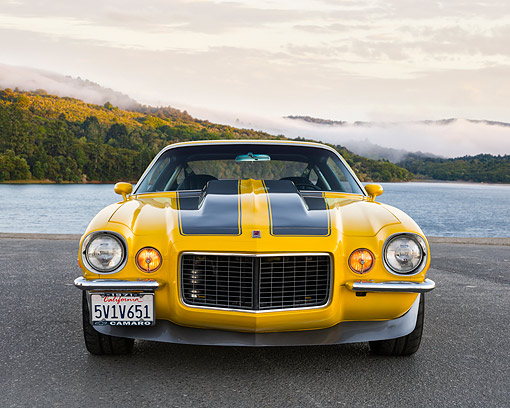 AUT 23 RK3579 01 © Kimball Stock 1971 Chevrolet Camaro RS Yellow Front View By Lake