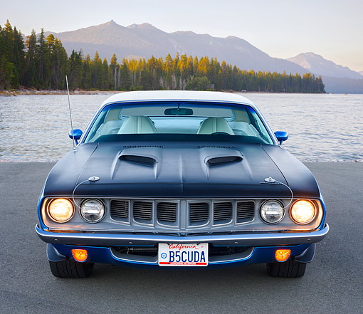 AUT 23 RK3698 01 © Kimball Stock 1971 Plymouth Barracuda Blue Front View On Pavement By Water