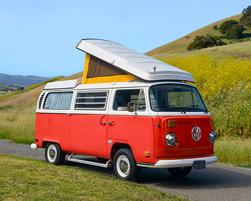 AUT 23 RK3702 01 © Kimball Stock 1971 Volkswagen Camper Bus Red 3/4 Front View By Grassy Hills