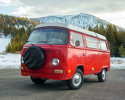 AUT 23 RK3710 01 © Kimball Stock 1972 Volkswagen Westfalia Camper Bus Red 3/4 Front View By Snowy Mountain