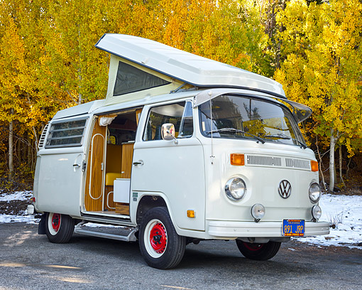 AUT 23 RK3711 01 © Kimball Stock 1973 Volkswagen Westfalia Camper Bus Beige 3/4 Front View By Snow And Trees