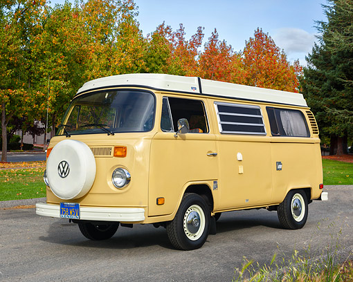 AUT 23 RK3713 01 © Kimball Stock 1977 Volkswagen Westfalia Camper Bus Yellow 3/4 Front View By Trees