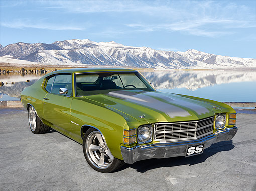 AUT 23 RK3723 01 © Kimball Stock 1971 Chevrolet Chevelle SS 350 Malibu Green And Silver 3/4 Front View On Pavement By Snowy Mountain Lake