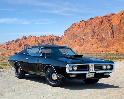 AUT 23 RK3732 01 © Kimball Stock 1971 Dodge Charger 426 Hemi Black 3/4 Front View On Road In Desert