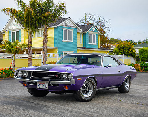 AUT 23 RK3736 01 © Kimball Stock 1970 Dodge Challenger R/T Plum Crazy Purple 3/4 Front View By House And Palm Trees