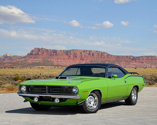 AUT 23 RK3741 01 © Kimball Stock 1970 Plymouth Hemi Barracuda Limelite Green 3/4 Front View In Desert