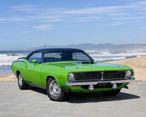AUT 23 RK3742 01 © Kimball Stock 1970 Plymouth Hemi Barracuda Limelite Green 3/4 Front View By Ocean