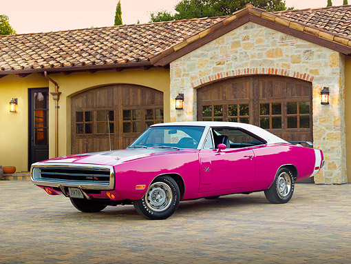 AUT 23 RK3753 01 © Kimball Stock 1970 Dodge Charger R/T 440 Six Pac Pink 3/4 Front View On Brick By House