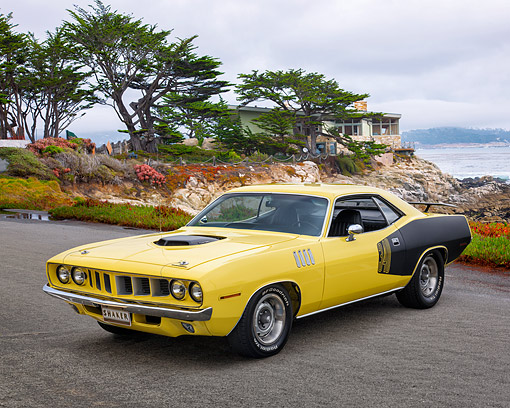 AUT 23 RK3769 01 © Kimball Stock 1971 Plymouth Barracuda 340 Yellow 3/4 Front View By Ocean