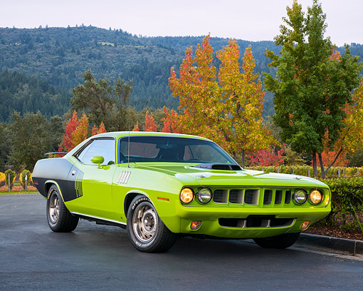 AUT 23 RK3778 01 © Kimball Stock 1971 Plymouth Barracuda 440 Green 3/4 Front View On Pavemet By Autumn Trees