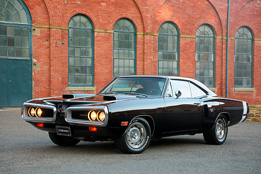 AUT 23 RK3779 01 © Kimball Stock 1970 Dodge Coronet 440 R/T Black 3/4 Front View By Building