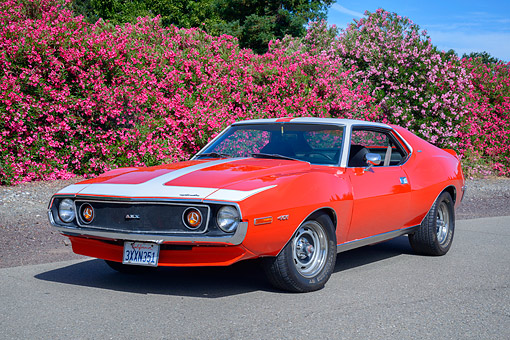 AUT 23 RK3790 01 © Kimball Stock 1972 American Motors AMX Javelin 401 Red 3/4 Front View By Flowers
