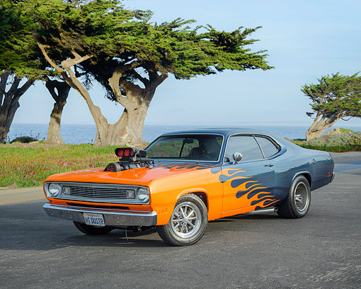 1970 Plymouth Duster Blue With Flames 3 4 Front View By Ocean