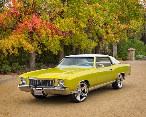 AUT 23 RK3798 01 © Kimball Stock 1972 Chevrolet Monte Carlo Candy Lime Gold 3/4 Front View By Autumn Trees