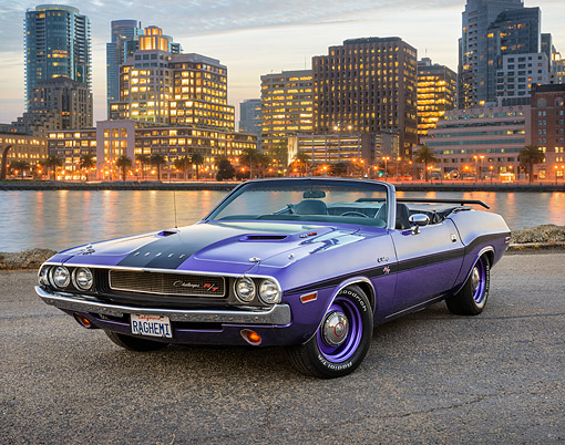 AUT 23 RK3799 01 © Kimball Stock 1970 Dodge Hemi Challenger Convertible Plum Crazy Purple 3/4 Front View By City And Bay