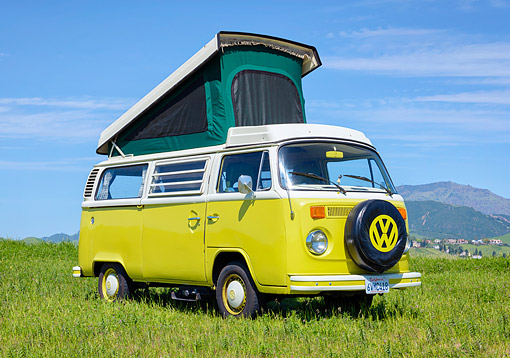 AUT 23 RK3808 01 © Kimball Stock 1975 Volkswagen Westafalia Camper Bus Yellow 3/4 Front View On Grass