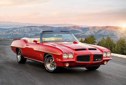 1971 Pontiac GTO Judge Ram Air Convertible Red 3/4 Front