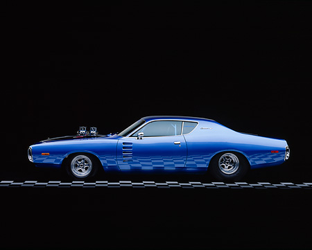 AUT 23 RK0001 06 © Kimball Stock 1972 Dodge Charger Prostreet Blue Profile On Checkered Line Studio
