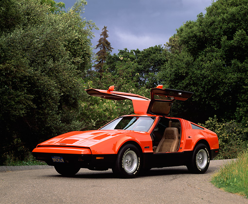 AUT 23 RK0075 05 © Kimball Stock 1975 Orange And Black Bricklin 3/4 Front View Gullwing Doors On Pavement By Trees Cloudy Sky