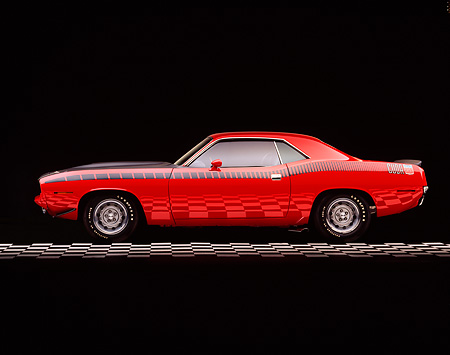 AUT 23 RK0141 06 © Kimball Stock 1970 Plymouth AAR Barracuda Red And Black Profile On Checkered Line Studio
