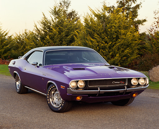 AUT 23 RK0157 06 © Kimball Stock 1970 Dodge Challenger Plum Crazy 3/4 Front View On Pavement
