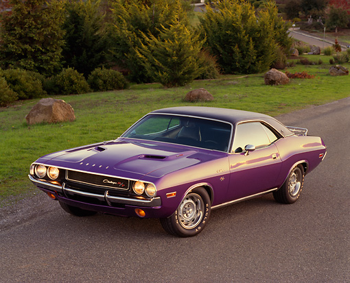 AUT 23 RK0164 01 © Kimball Stock 1970 Dodge Challenger Hemi Plum Crazy Overhead 3/4 Front View On Pavement By Grass