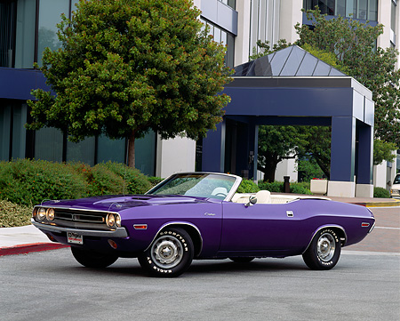 AUT 23 RK0211 03 © Kimball Stock 1971 Dodge Challenger Convertible Plum Crazy 3/4 Side View On Pavement By Building