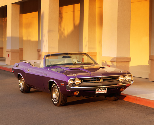 AUT 23 RK0213 04 © Kimball Stock 1971 Dodge Challenger Convertible Plum Crazy 3/4 Front View By Columns