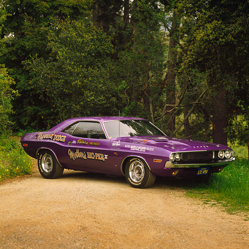 AUT 23 RK0215 01 © Kimball Stock 1970 Dodge Challenger R/T Plum Crazy 3/4 Side View On Dirt