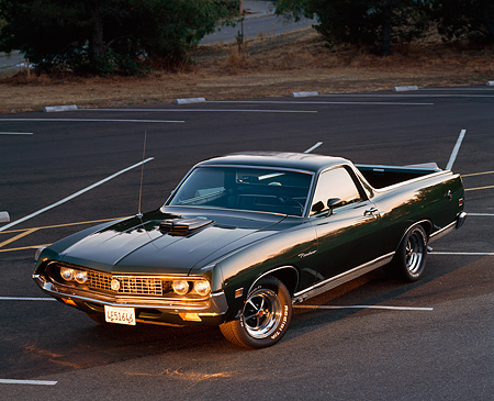 AUT 23 RK0254 03 © Kimball Stock 1971 Ford Ranchero Cobra Dark Green 3/4 Front View On Pavement