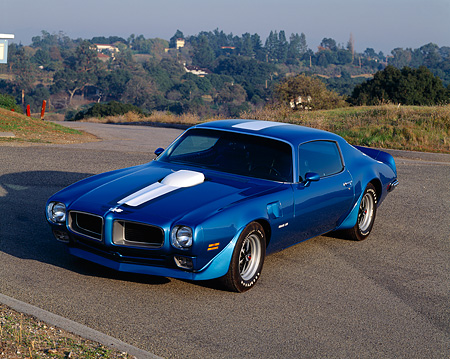 AUT 23 RK0274 05 © Kimball Stock 1970 Pontiac Trans Am Blue Front 3/4 View On Pavement