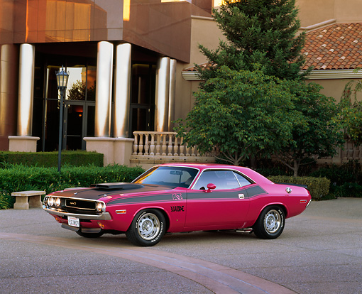 AUT 23 RK0314 04 © Kimball Stock 1970 Dodge Challenger T/A Panther Pink 3/4 Side View On Pavement