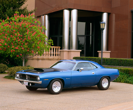 AUT 23 RK0345 03 © Kimball Stock 1970 Plymouth Barracuda Blue 3/4 Side View On Pavement By Museum