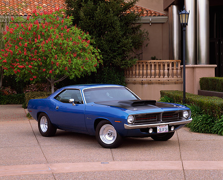 AUT 23 RK0346 02 © Kimball Stock 1970 Plymouth Barracuda Blue 3/4 Front View On Pavement By Museum
