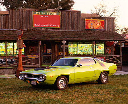 AUT 23 RK0398 01 © Kimball Stock 1972 Plymouth Road Runner Lime Green 3/4 Front View By Antique Store