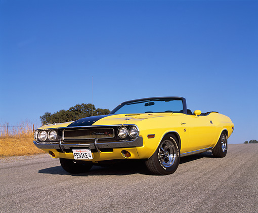 AUT 23 RK0622 03 © Kimball Stock 1970 Dodge Challenger 440 Convertible Yellow With Black Stripes Low 3/4 Front View On Pavement