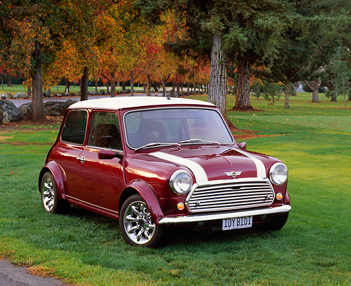 AUT 23 RK0656 03 © Kimball Stock 1972 Canadian Austin Mini 1000 Burgundy White Stripe Front 3/4 View On Grass